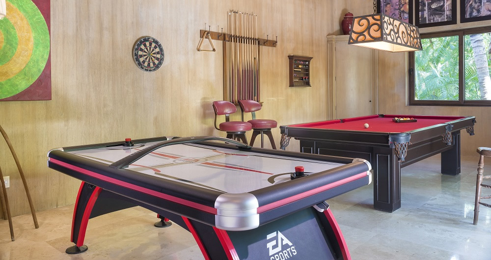 Air Hockey and Pool Tables in The Game Room at Casa Aramara Punta de Mita